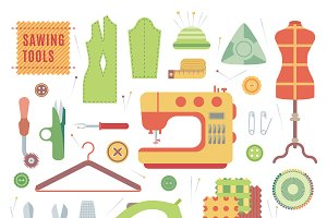 Sewing machines fabric vector set
