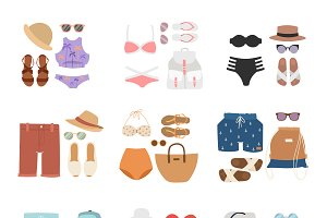 Beachwear cloth fashion looks vector