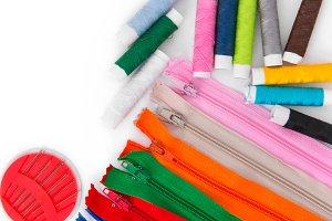 needlework thread and zippers