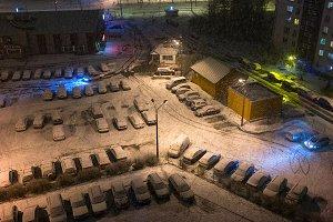 Parking cars. Winter. Riga. Latvia.