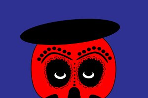 Skull vector icon, red color