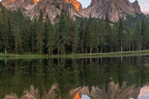 Mountain reflections at sunset