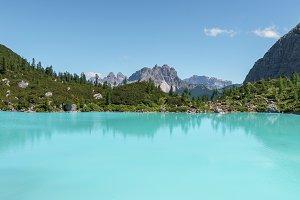 Lake Sorapiss in Dolomites mountains