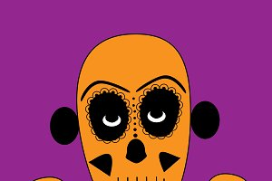 Skull vector background pink