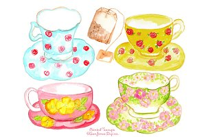 Watercolor Teacups