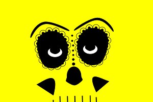 Skull vector background yellow