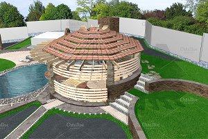 Gazebo exterior aerial, 3d rendering