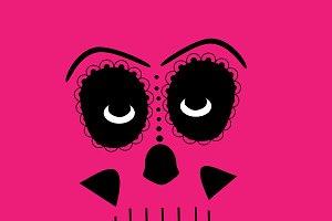 Skull vector background pink