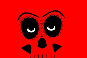 Skull vector background red