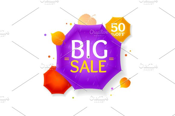 Big Sale Autumn Umbrella Label