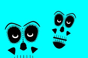 Skull vector background blue