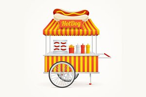 Hot Dog Street Market Stall. Vector