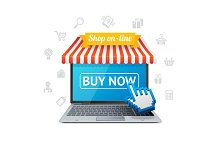Online Shopping with App. Vector