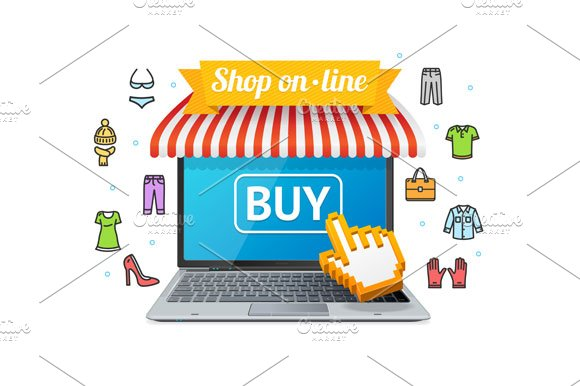Online Shopping with App. Vector in Illustrations - product preview 1