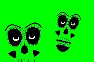 Skull vector background green