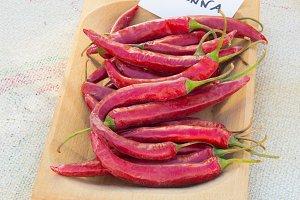 Cayenne red pepper close up