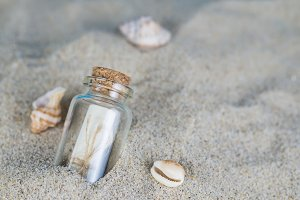 Message in a bottle on the sand of th beach