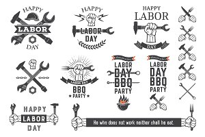Labor Day vector emblems