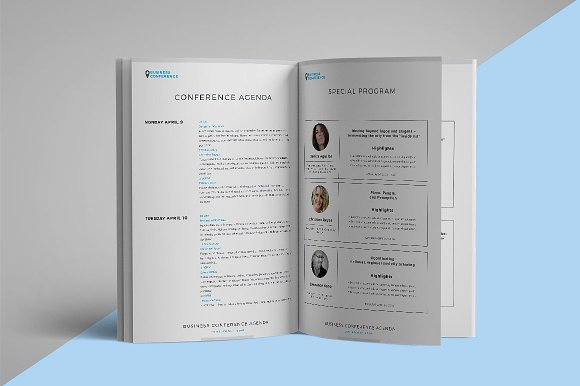 Conference Agendabrochure Brochure Templates Creative Market - Conference brochure template
