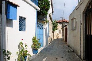 Typical street in Omodos village
