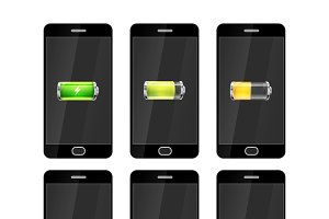 Six smartphones with batteries icons