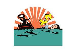 Man Sinking Dollar Sign