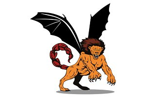 Manticore Lion Attacking