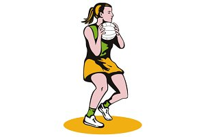 Netball Player Catching Ball
