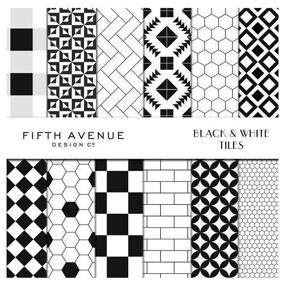 Black White Tiles Digital Paper Patterns