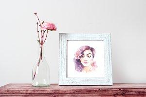 Brunette girl. Sketch 1. Watercolor