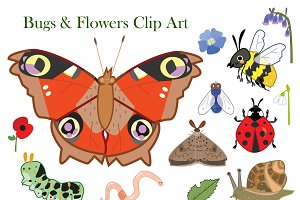 Bugs & Flowers Clip Art