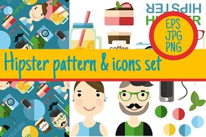 6 pattern & icon hipster lifestyle