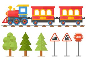 Railroad traffic way vector set