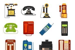 Telephones call contact vector set