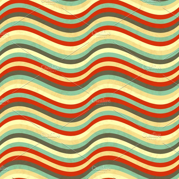 Wavy Stripes In Retro Colours Graphic Patterns Creative Market Inspiration Wavy Pattern