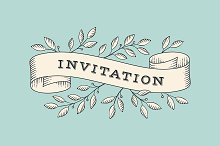 Greeting card with text Invitation