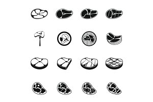 Steak icons set, simple style