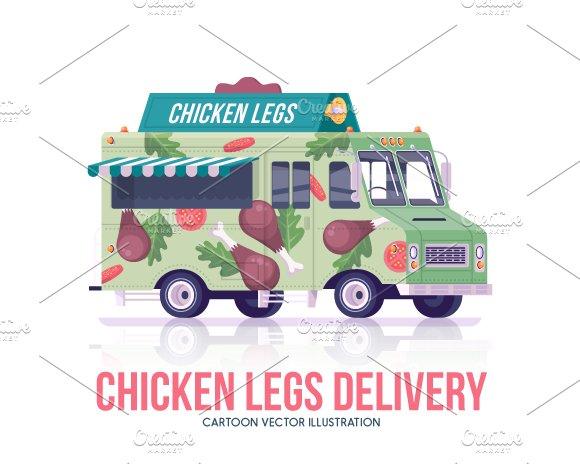 Cartoon Food Trucks Chicken Illustrations Creative Market
