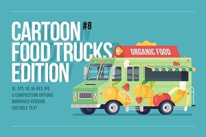 Cartoon Food Truck - Organic Food