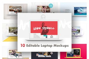10 Editable Laptop Mockups