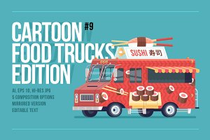 Cartoon Food Trucks - Japanese Sushi