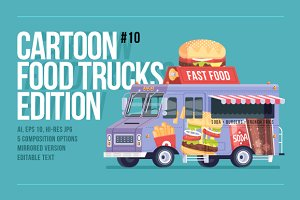 Cartoon Food Truck - Fast Food