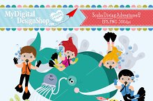 Scuba Diving Adventures 2 Clip Art