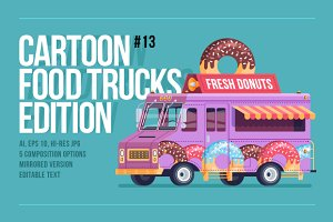 Cartoon Food Truck - Donuts