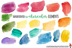 Watercolor elements clip art