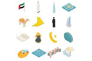 UAE icons set, isometric 3d style