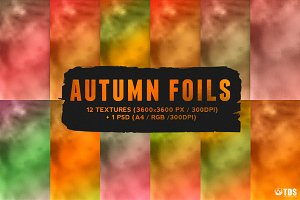 12 Autumn Foil Textures + Smart PSD