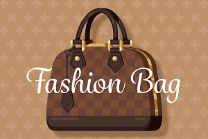 Brown fashion woman bag flat vector