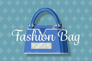 Blue fashion woman bag flat vector