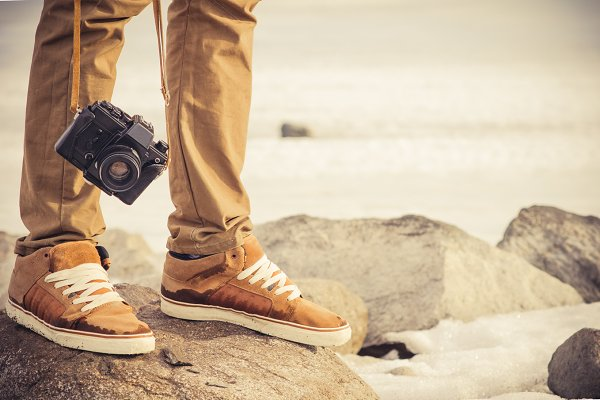 Feet man and vintage retro photo